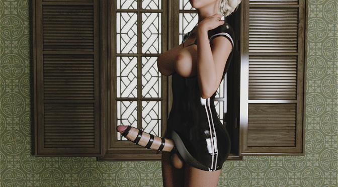 Gothic futanari slut has cock caged in chastity by DarkWood