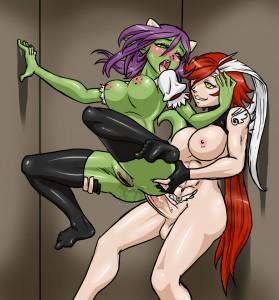 Redhead futa Nalica fucks green girl by Aesir