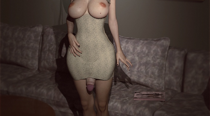Shemale in dress with cock hanging out by Darkwood3dx