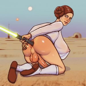 starwars-leia-probes-her-futanari-ass-with-light-saber