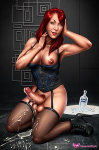 Tirinei-futanari-redhead-babe