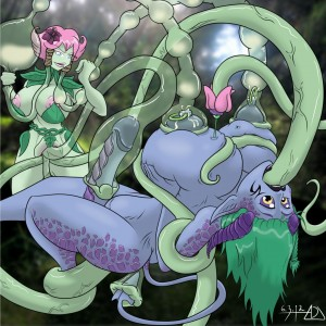 adjatha futa tit and cock milked by tentacles